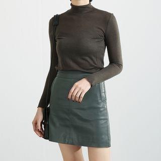 Mock-neck Long-Sleeve T-shirt 1065597217