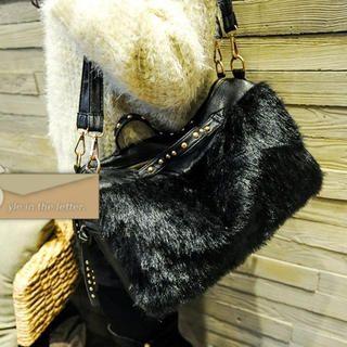 Faux-Fur Panel Studded Shoulder Bag