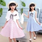 Kids Set: Gingham Sleeveless Dress + Flower Accent Cropped Coat 1596