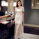 Short-Sleeve Paneled Maxi Party Dress 1596