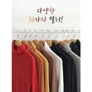 Turtle-Neck Ribbed Slim-Fit Top 1063753549