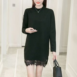 Long-Sleeve Lace-Panel Dress Black - One Size 1057164710