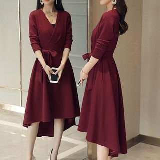 Long-Sleeve Tie-Waist Dress 1065481502