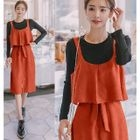 Set: Long-Sleeve T-Shirt + Tie-Waist Pinafore Dress 1596