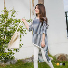Striped High-Low Dolman Knit Top 1596