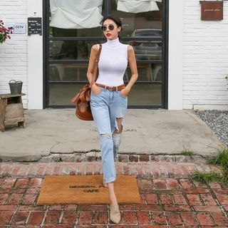 Set: Turtleneck Sleeveless Knit Top + Distressed Tapered Jeans 1067851949