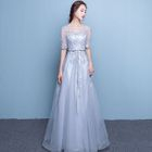 Lace Applique Elbow-Sleeve A-Line Evening Gown 1596