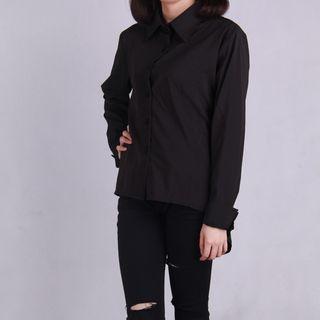 Long-Sleeve Cutout-Back Blouse Black - One Size 1054975760