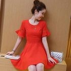 Frilled Short Sleeve A-line Dress 1596