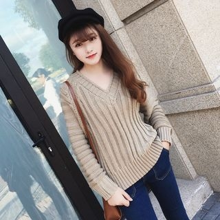 Ribbed V-Neck Sweater 1057326900