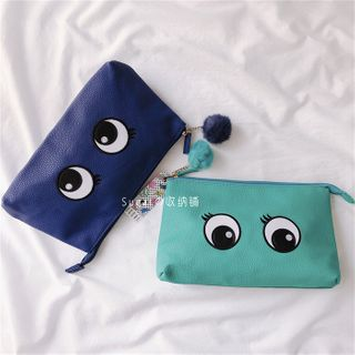 Image of Eye Embroidered Bobble Makeup Pouch