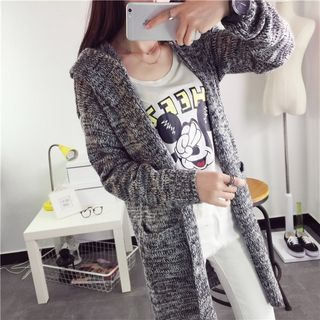 Melange Hooded Long Cardigan 1054864970
