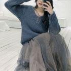 Plain V-Neck Sweater / Mesh Long-Sleeve Dress 1596