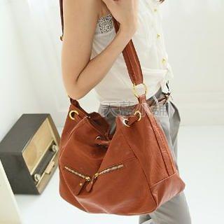 Buy SkyBlue Drawstring Faux Leather Shoulder Bag 1022990271