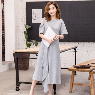 Image of Maternity Cold-Shoulder Tie-Front Midi A-Line Dress