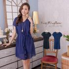 Frill Trim Tie-waist Chiffon Dress 1596