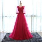 Lace Panel Elbow-Sleeve Evening Gown 1596