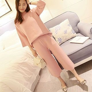 Set: 3/4-Sleeve Sweater + Knit Wide Leg Cropped Pants 1053072968