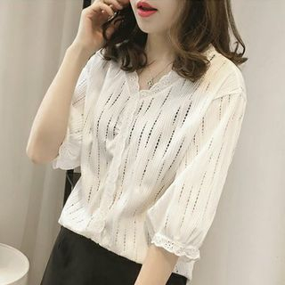 Puntino Elbow-Sleeve Perforated Chiffon Blouse