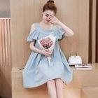 Cutout Shoulder Ruffle Maternity Dress 1596