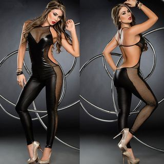 Mesh Trim Faux Leather Cut Out Back Jumpsuit 1053332084