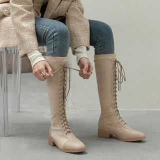 Chunky-heel Lace-up Tall Boots