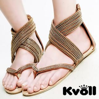 Buy Kvoll Cross-Strap Beaded Thong Sandals 1022905894