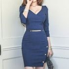 V-Neck Buttoned Sheath Dress 1596
