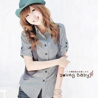 """Buy YoungBaby Tab-Sleeve """"Detachable Vest"""" Gingham Blouse 1022951284"""