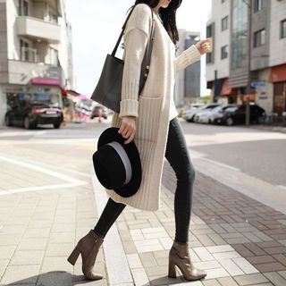 Ribbed Open-Front Long Cardigan 1062269456