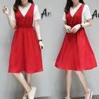 Set: Short-Sleeve T-Shirt + A-Line Pinafore Dress 1596
