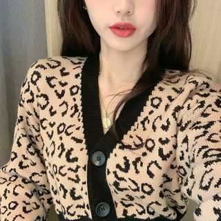 Image of Leopard Cropped Cardigan