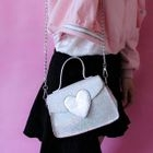 Heart Applique Glittered Crossbody Bag 1596