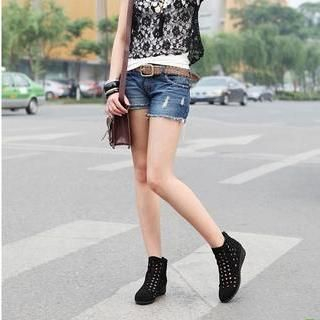 Perforated Wedge Ankle Boots