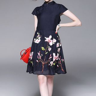 Floral Print Mandarin Collar Short Sleeve A-Line Dress 1050970629