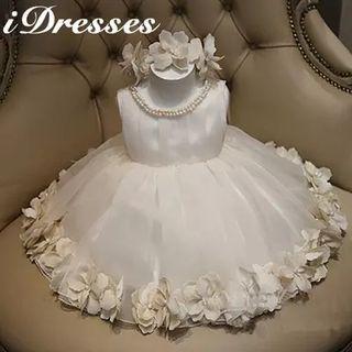 Kids Sleeveless Applique Tulle Dress 1045794620