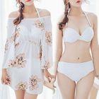 Set : Halter Bikini + Floral Print Cover-up 1596