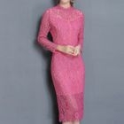 Long-Sleeve Lace Sheath Midi Dress 1596