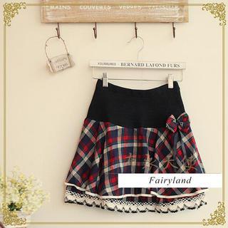 Layered Lace-Trim Plaid Mini Skirt 1037583559
