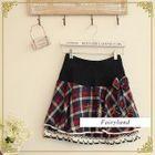 Layered Lace-Trim Plaid Mini Skirt 1596