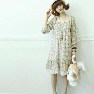 Buy Dodostyle 3/4-Sleeve Floral Chiffon Dress 1022961471