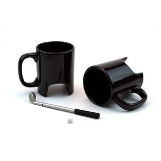 Plain Ceramic Cup with Golf Club Tea Spoon 1060623331