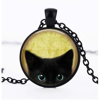 Image of Cat Print Glass Pendant Necklace
