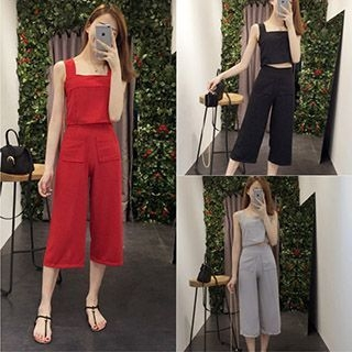 Set: Cropped Camisole Top + Wide Leg Cropped Pants 1051148915