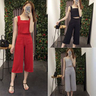 Set: Cropped Camisole Top + Wide Leg Cropped Pants 1596
