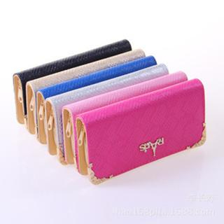 Faux-Leather Metal-Accent Long Wallet