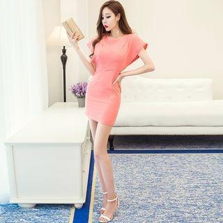 Plain Short Sleeve Mini Dress 1060829565