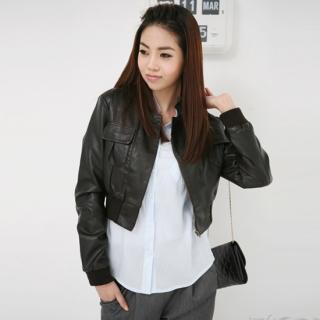Buy Jean Stone Faux-Leather Cropped Jacket 1022418044