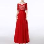 Short-Sleeve Lace Panel A-Line Evening Gown 1596