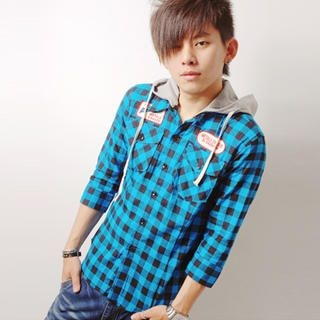 Picture of SLOWTOWN 3/4-Sleeve Appliqu  Check Hooded Shirt 1023009060 (SLOWTOWN, Mens Shirts, China)